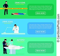 Murder investigation banners. Police officer. Forensic laboratory