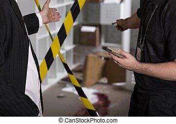 Murder or crime scene barricaded by tape
