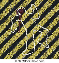 Murder Silhouette on yellow hazard lines. Accident...