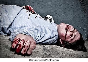 Murder victem - Murder victim lying on the floor, being shot...