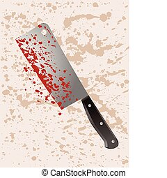 Murder weapon cleaver - A cleaver splattered with blood...
