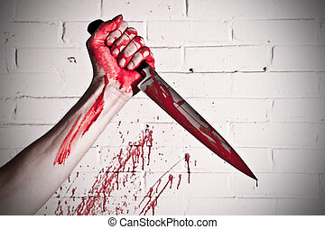Murder weapon - Crosse procesed, blood covered knife, still...