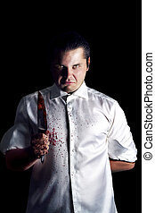 Murder with knife on black background