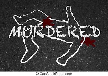 Murdered Killed Dead Body Chalk Outline Victim Illustration