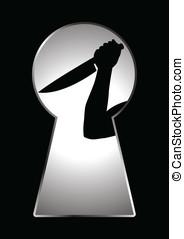 Murderer - Silhouette of human hand holding a knife seen ...