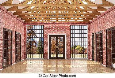 muren, doors., kamer, vensters, groot, 3d, hout, lege, rood, zolder, illustratie, stijl, baksteen