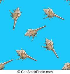 Murex seashells seamless pattern