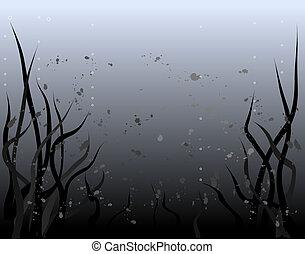 Vector background design of a murky underwater world
