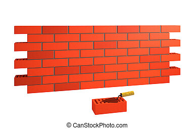 muro di mattoni, e, cazzuola