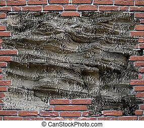 muro di mattoni, grungy, cornice