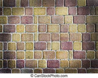 muro di mattoni, in, grunge, stile