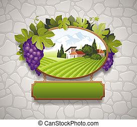 muro pietra, vendemmia, immagine, cartello, contro, vettore, uva, paese, paesaggio