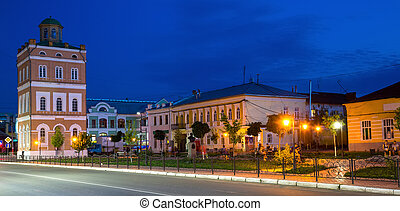 Murom city center with water tower and park by night