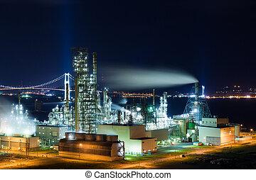 muroran, industriel, usine, nuit