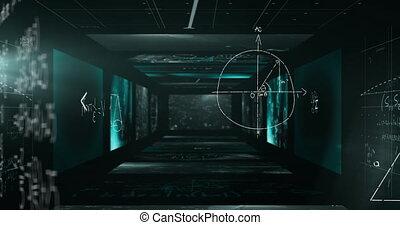 murs, équations, tunnel, animation, flotter, formulae, sur, ...