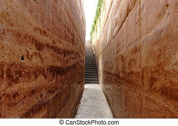 murs, autour de, couloir