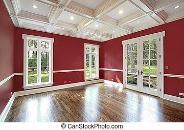 murs, bibliothèque, rouges