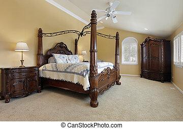 murs, maître, or, chambre à coucher