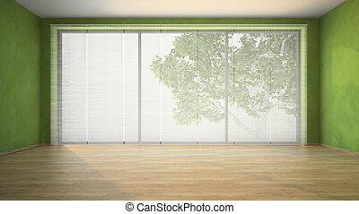 murs, vert, salle, vide
