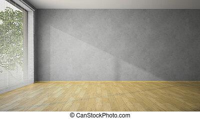 murs, vide, gris, parquet, salle