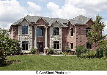 mursten, hjem, hos, hvid, kolonner