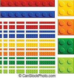 mursten, stykke legetøj, børn, vektor, plastik