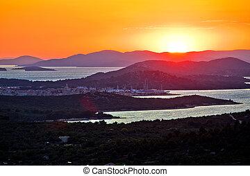murter, vista, colorido, archipiélago, island., ocaso