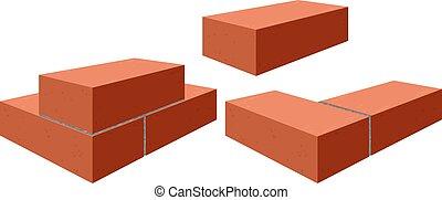 murverk, bricks., röd