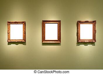 musée art, vide, 3, individu, pendre, cadres, galerie