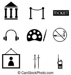 musée, ensemble, icône