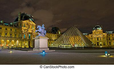 musée, france, nuit, paris, louvre