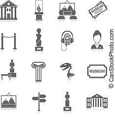 musée, noir, icônes