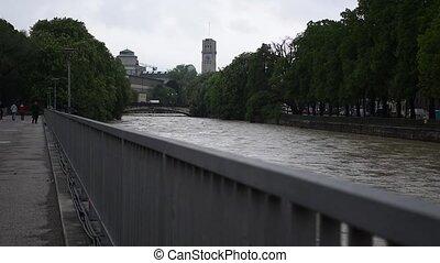 musée, rivière, vue, deutsches, isar