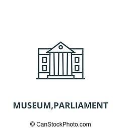 musée, symbole, vecteur, parlement, icône, ligne, concept, linéaire, contour, signe