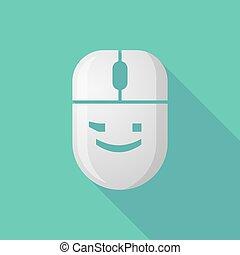 mus, emoticon, ikon, ansikte, blinkning, skugga, länge, radio, text