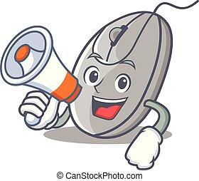mus, firmanavnet, megafon, karakter, cartoon