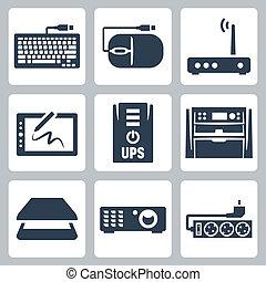 mus, projektor, vektor, ikonen, ups, kompress, bildläsare, multifunction, svallvåg, modem, apparat, järnvaror, datordiagram, tangentbord, filtrera, set: