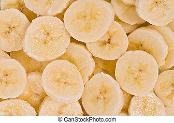 (musa, acuminata), plátano, rebanadas