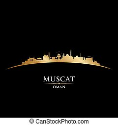 Muscat Oman city skyline silhouette black background