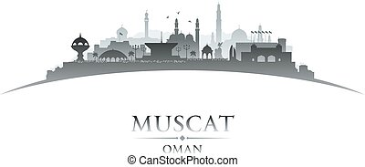Muscat Oman city skyline silhouette white background