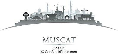 Muscat Oman city skyline silhouette white background
