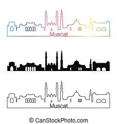 Muscat skyline linear style with rainbow