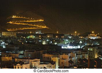 muscat, vista, oman., sultanato, noche
