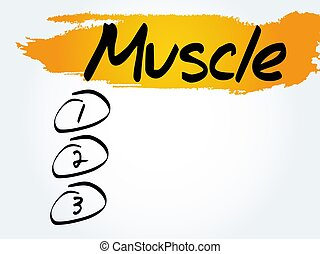 Muscle blank list, health concept
