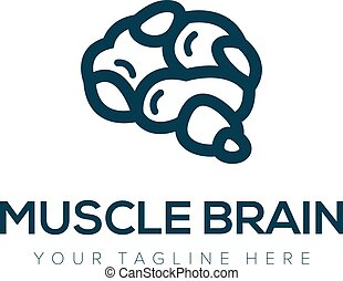 muscle brain idea modern logo design