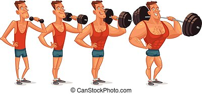 Gradual development - Muscle building from a weakling to a...