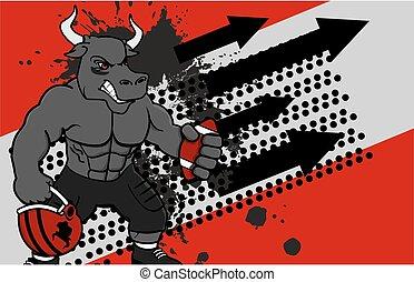 muscle bull american football card