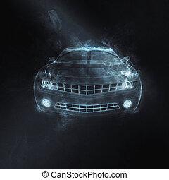 Muscle car - blue grey smoke