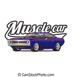 Muscle car cartoon classic vector poster t-shirt print
