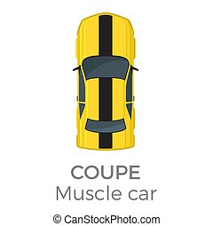Muscle Car Coupe Top View Flat Vector Icon